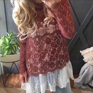 Tops - RUNS SMALL! Boho All Lace Crochet Top Blouse Sz L